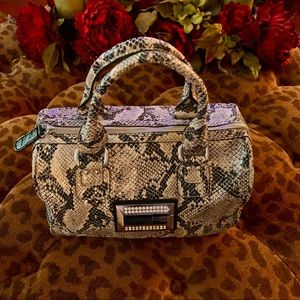 Guess Taupe Gray Print Snakeskin Satchel
